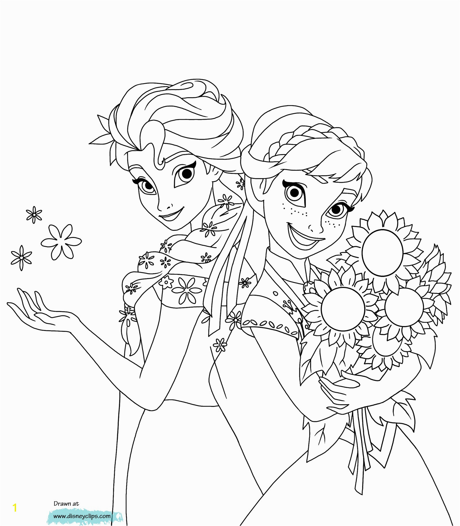 Elsa and ana Frozen Queen Elsa Coloring Pages Printable Coloring Panda
