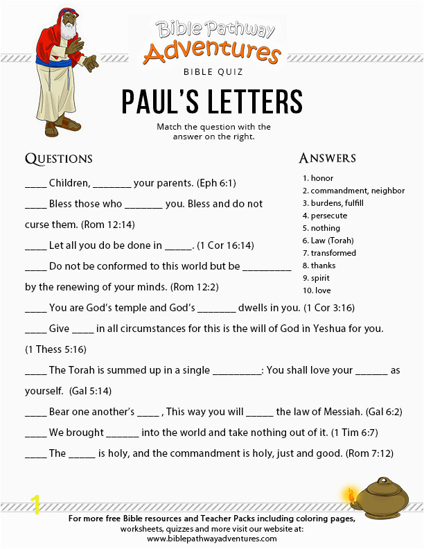Free Bible Quiz for Kids Paul s Letters