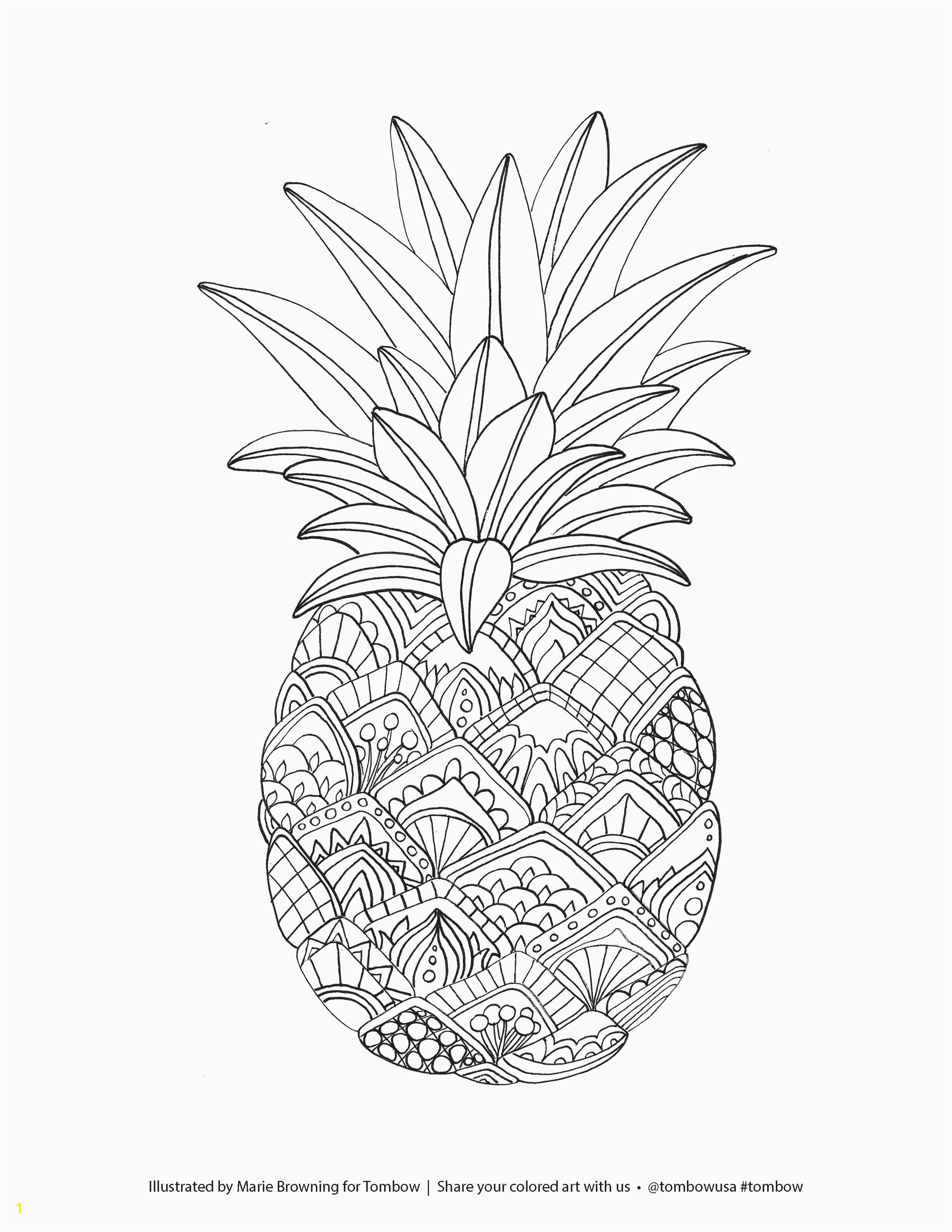 Fruits Coloring Pages Printable Pineapple Coloring Page
