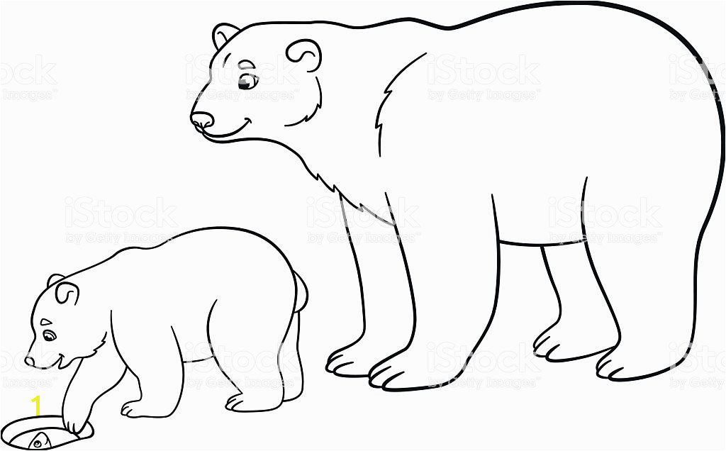 Coloring pages Mother polar bear with her baby Lizenzfreies coloring pages mother polar bear