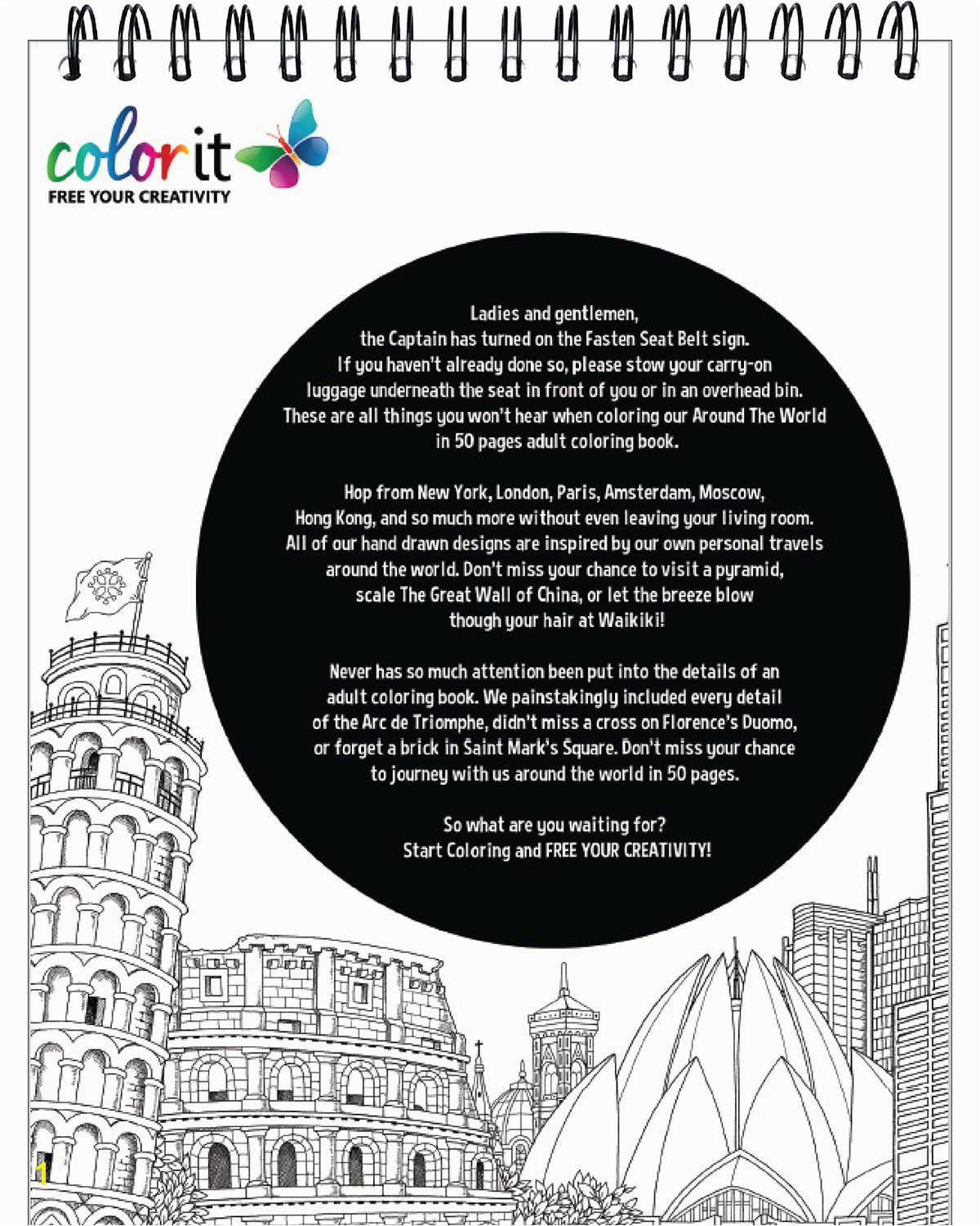 ColorIt Around The World In 50 Pages Cities Adult Coloring Book Features 50 Original Hand Drawn Coloring Pages for Men and Women ColorIt Hasby Mubarok