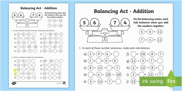 KS1 Balancing Act Addition Worksheet Activity Sheet balancing equations balancing sums balancing