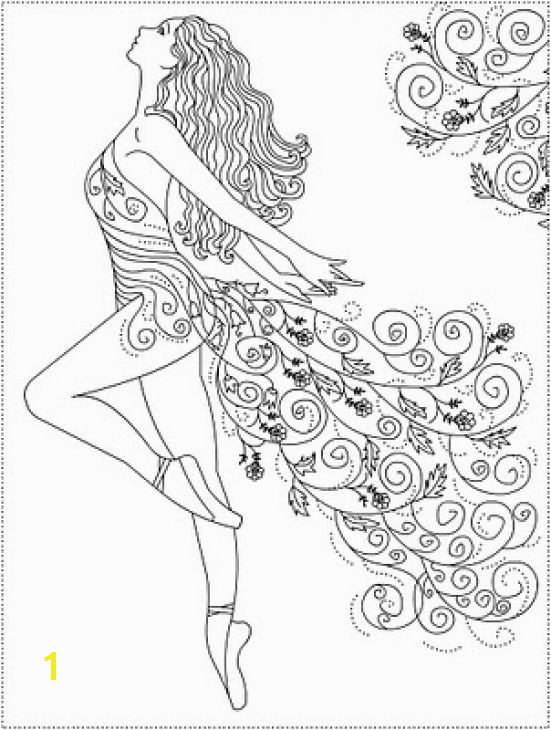 Ballerina Coloring Pages Pdf Abstract Ballerina Doodle Art Coloring Page for Grown Ups