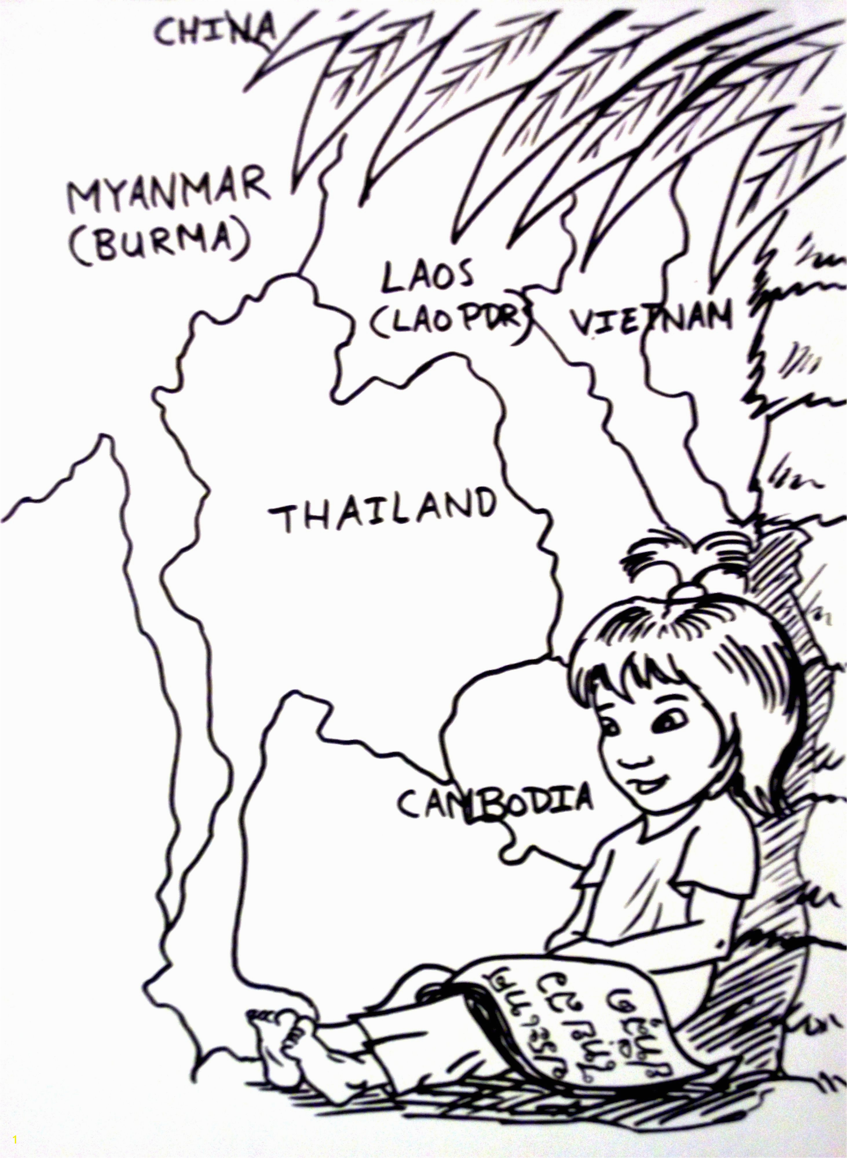 Basil Coloring Page Thai Girl Coloring Page Colouring Page Thai Child Kid Cartoon