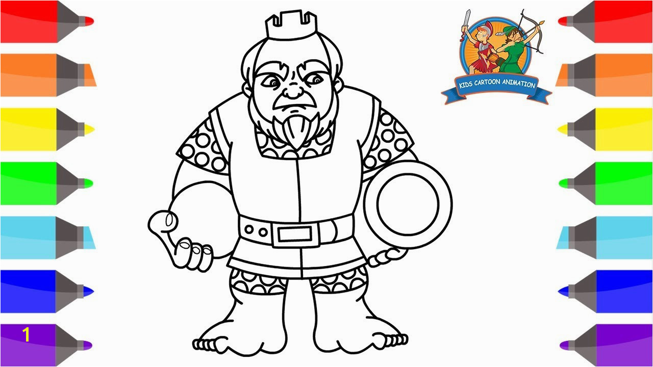 Cartoon Coloring Pages Kids Stunning How to Draw Royal Giant Clash Royale Coloring Pages for Kids