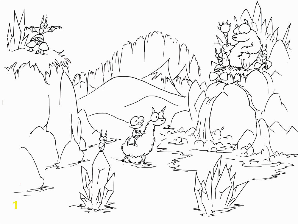 a free coloring page of a cartoon monkey riding a llama into a bear s cave full