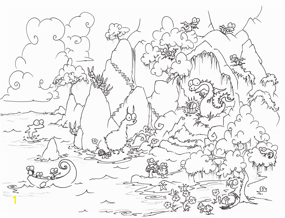 a free coloring page of adragon in a cave with treasure and baby dragons and a