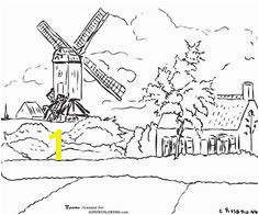 Windmill at Knock Belgium By Camille Pissarro Coloring page Pissaro Paintings Coloring For Kids