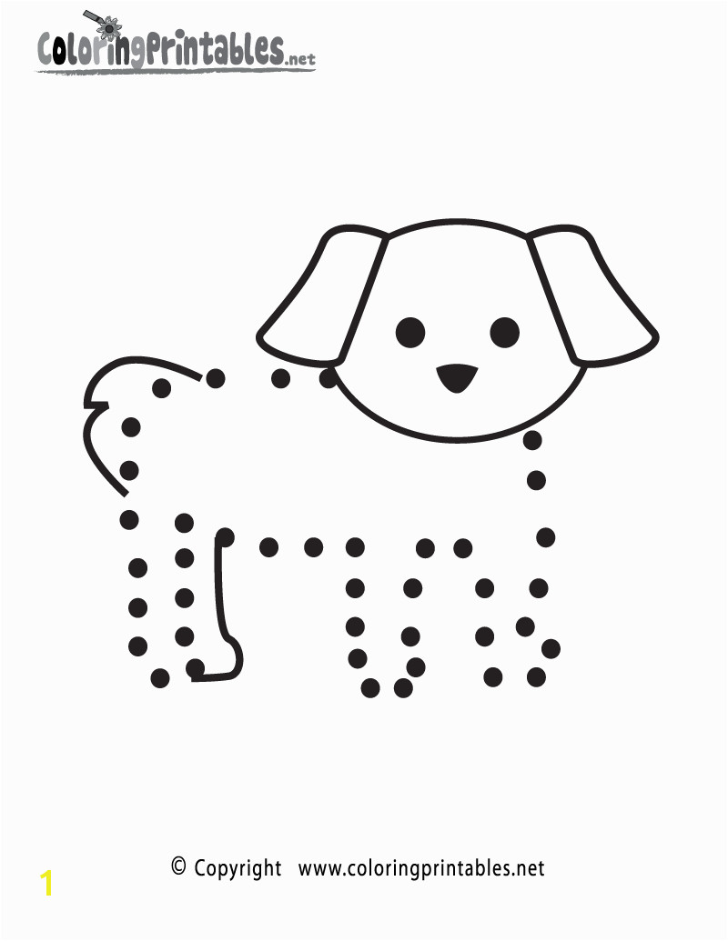 Dog Connect the Dots Activity Printable for beginning preschoolers