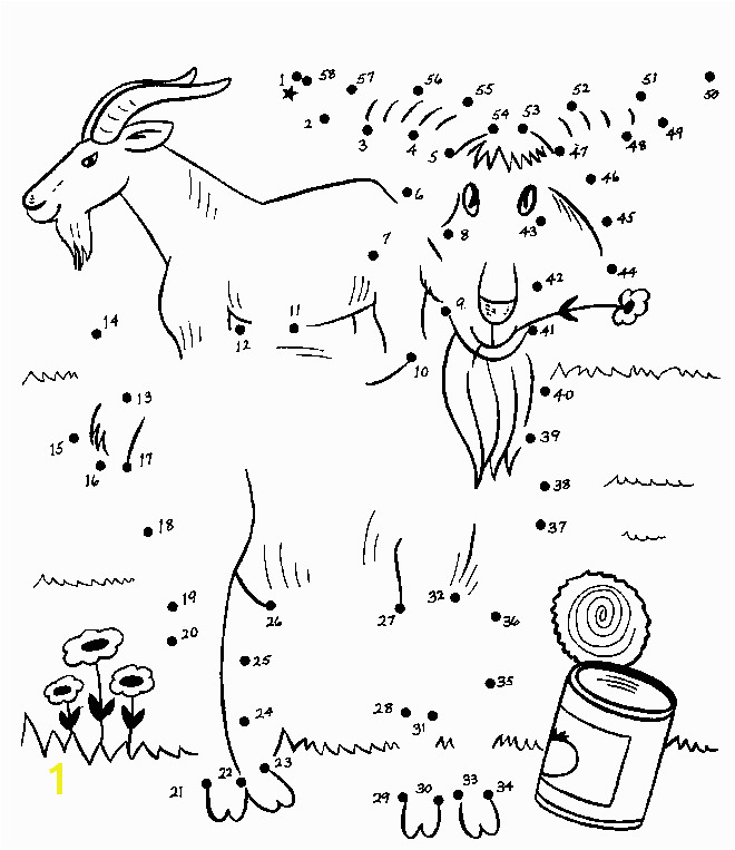 Dot To Dot Coloring Pages Free For Kids Preschool Learning line billy goats gruff