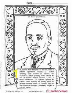 Dr Daniel Hale Williams Coloring Page Famous African Americans African American History Activities
