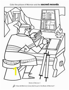 A coloring page showing Mormon inscribing the records of his people