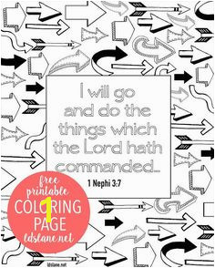 """I Will Go and Do"" Scripture Coloring Page by ldslane Book"