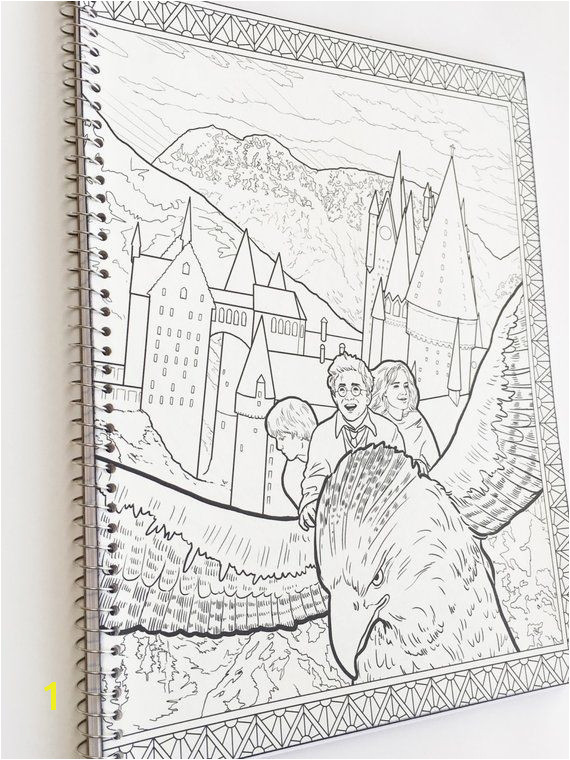 Harry Potter adult coloring book notebook with Harry Potter Hermione Ron and Buckbeak with castle