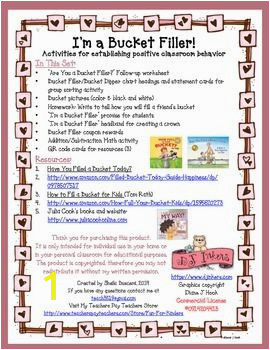 Follow up worksheet 2 Bucket Filler Bucket Dipper chart headings and statement cards for group sorting activity 3 Bucket pictures color