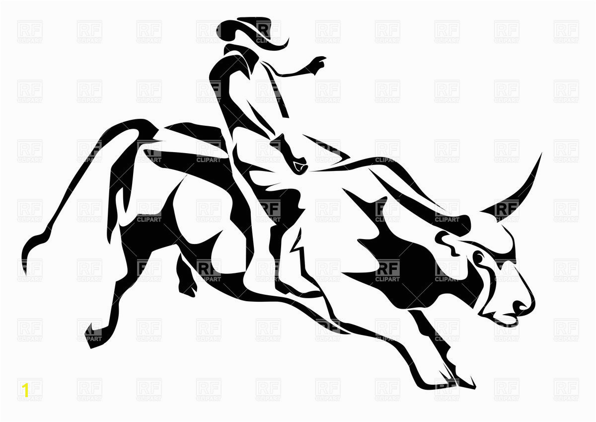 Bull riding silhouette of cowboy and bull Vector Image – Vector Artwork of People © to Zoom