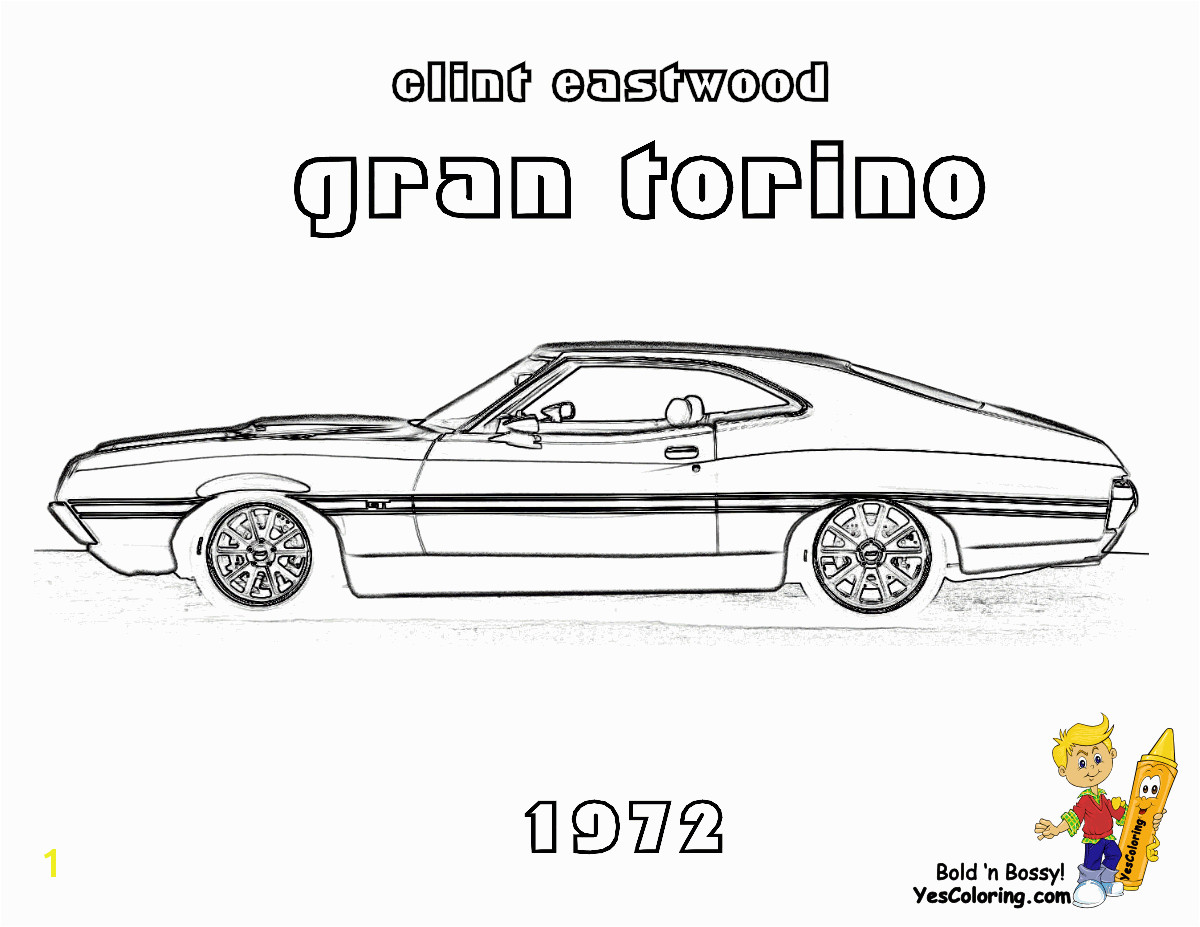 YesColoring Coloring Page of the Gran Torino Car of Clint Eastwood Movie
