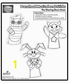 Preschool Musical The Sharing Show Puppets – Sprout Sharing Show Coloring Pages for Kids