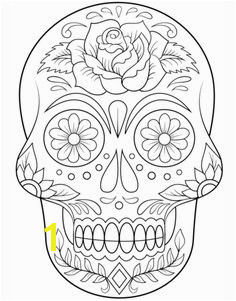 Sugar Skull with Flowers Coloring page from Day of the Dead category Select from