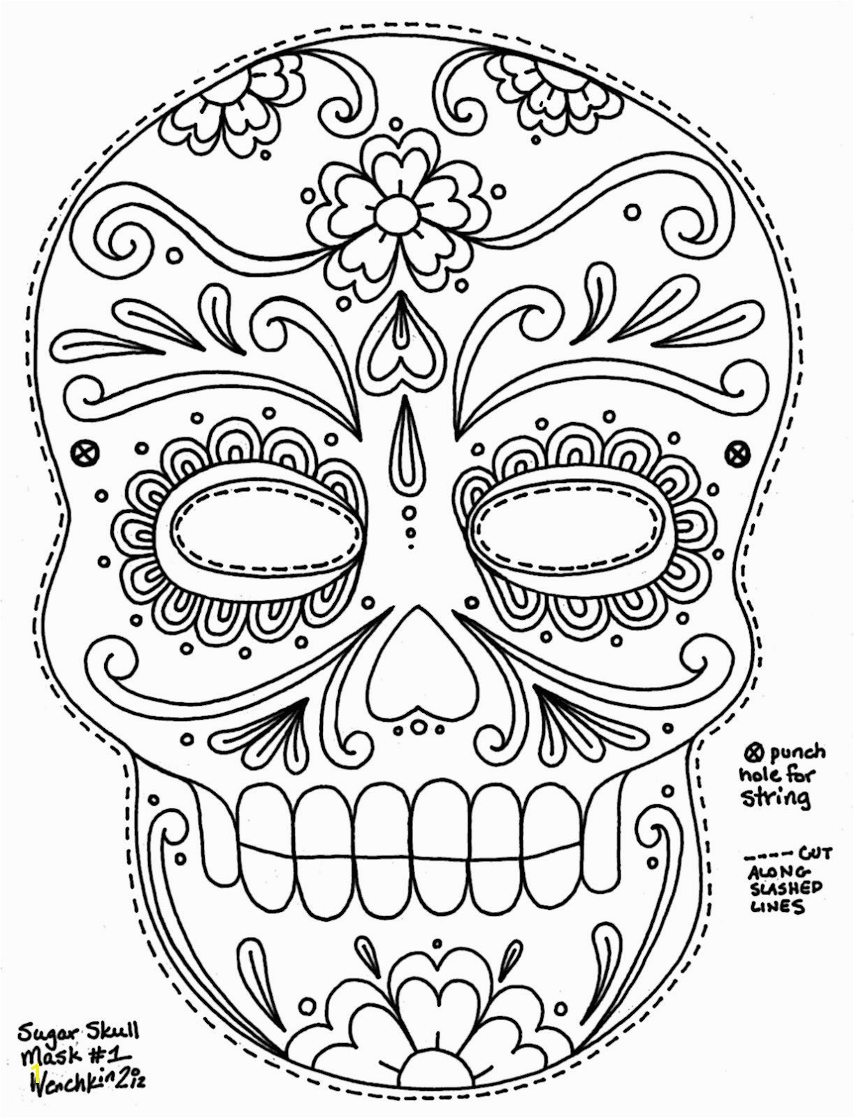 Calavera Mask Coloring Page Sugar Skull Coloring Pages