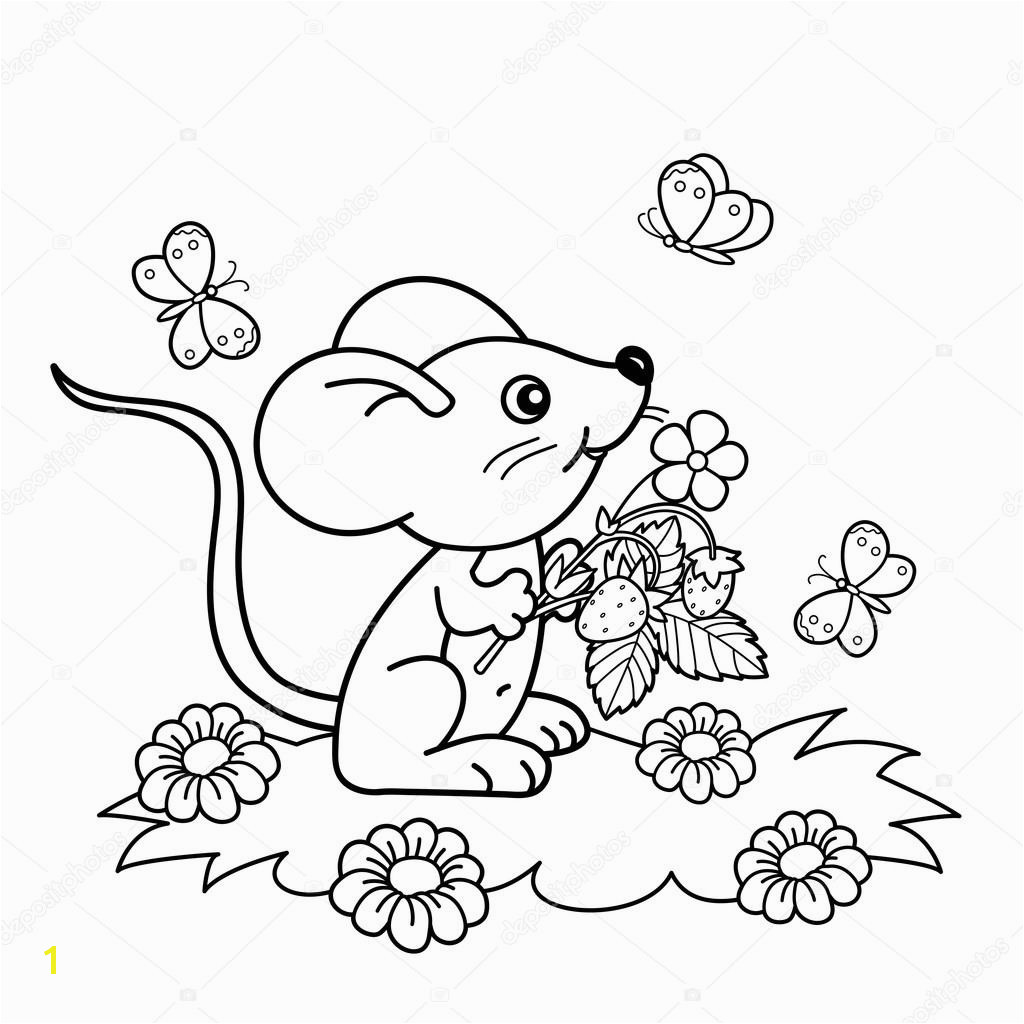 Coloring Page Outline cartoon little mouse with strawberries in the meadow with butterflies Coloring book for kids — Wektor od Oleon17