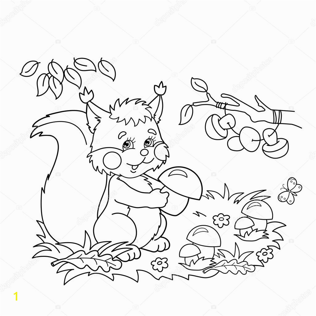 Coloring Page Outline cartoon squirrel with mushrooms in the meadow with butterflies Coloring book for kids — Wektor od Oleon17