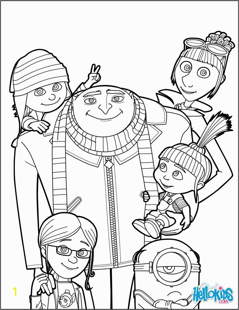 Despicable Me Gru and all the family coloring page More Despicable Me coloring sheets on hellokids