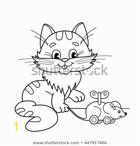 Coloring Page Outline cartoon cat with toy clockwork mouse Coloring book for kids