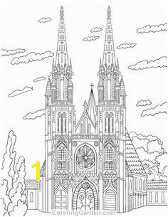 Free printable cathedral adult coloring page Download it in PDF format at