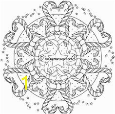 Sweet hearts design candy cane Christmas mandala wreath design coloring page is a plicated and challenging
