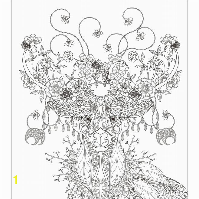 A detailed adult Christmas coloring page of a reindeer