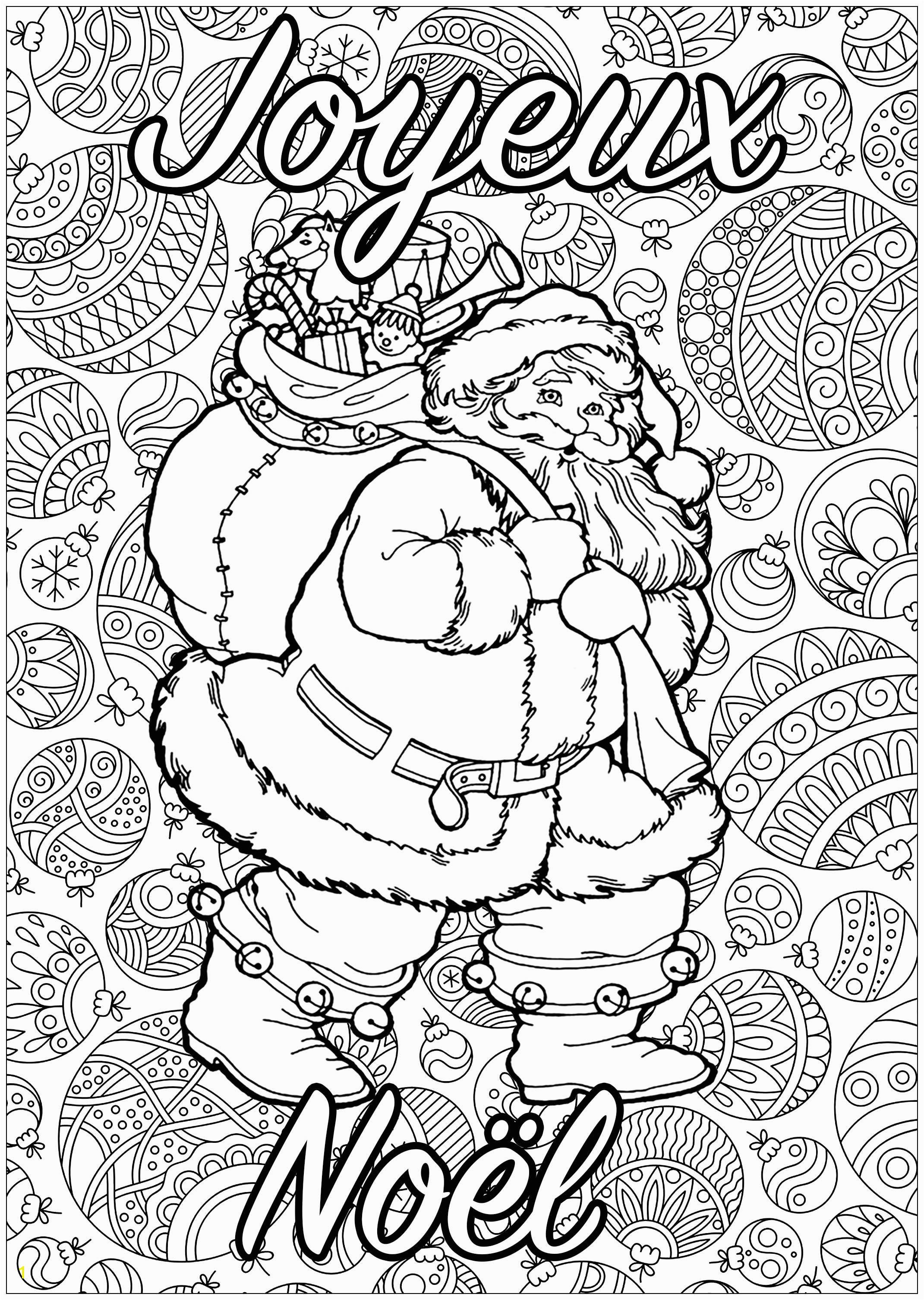 Christmas Noel Coloring Pages P¨re No L  Colorier Avec Fond Plein De Motifs Et Texte Joyeux