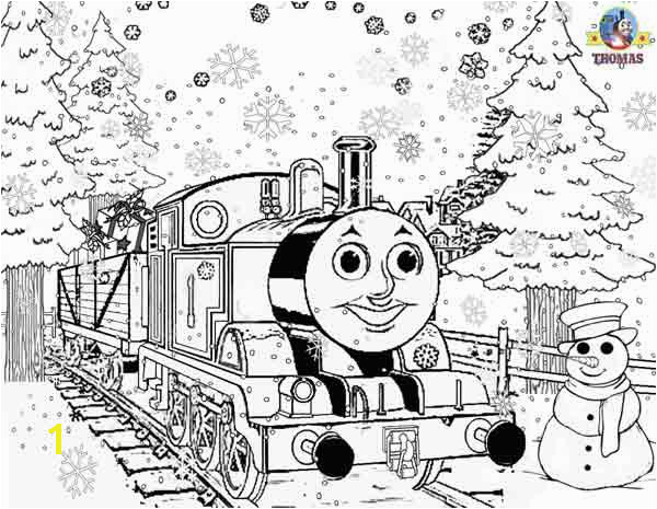 line free printable Thomas tank snowman Christmas colouring pages for kids snow winter pictures