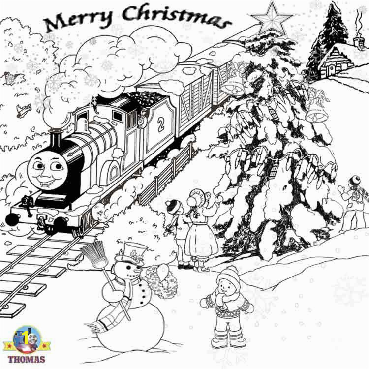 Winter holiday snow pictures of Thomas the train free printable Christmas coloring pages for kids
