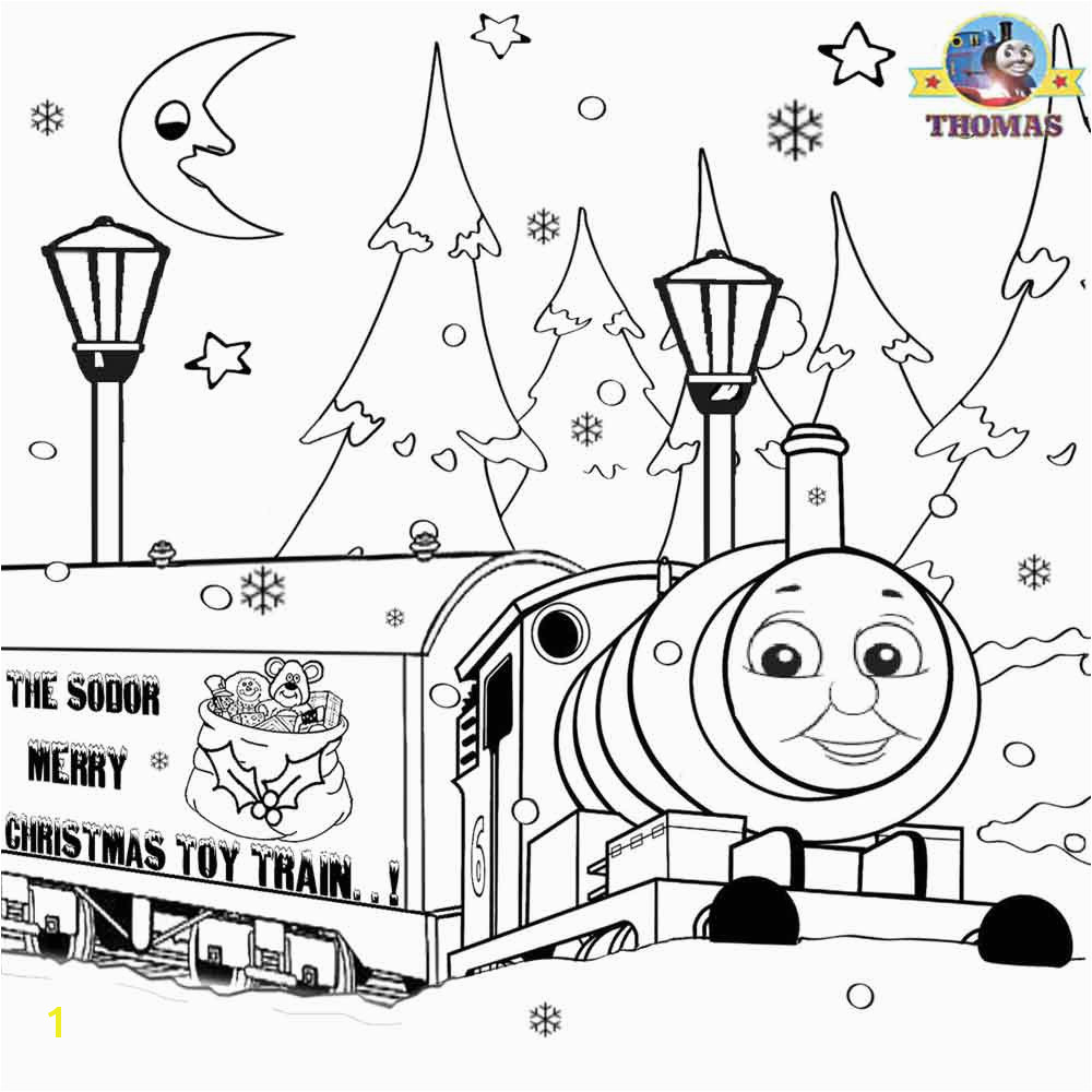Childrens merry Christmas toy train Percy the tank engine and Thomas pictures to print and color