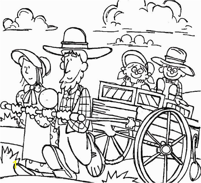 Clipart Pioneer Family Coloring Page