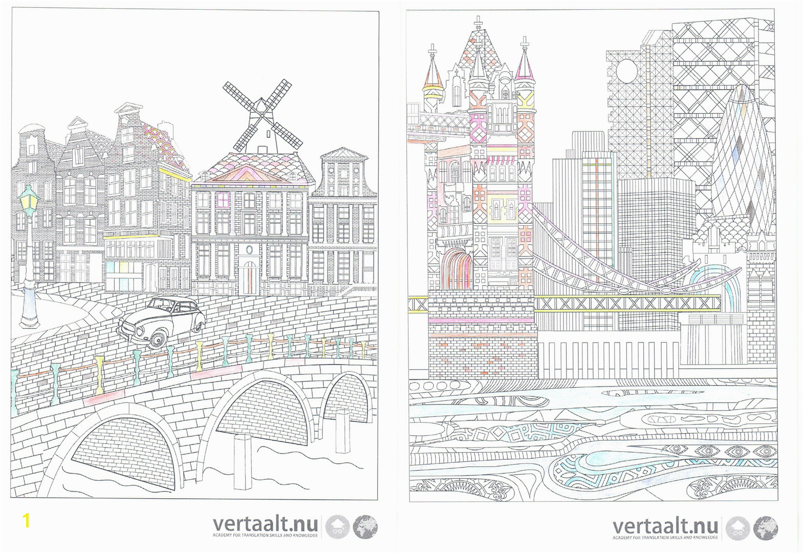 City Coloring Pages for Adults Five Free Translation themed Adult Coloring Pages Vertaalt