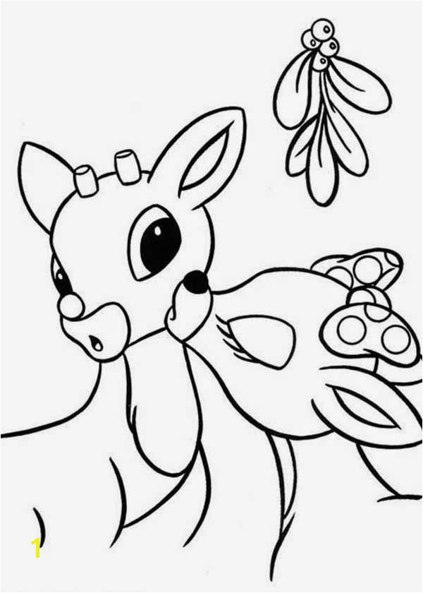 Rudolph Under Mistletoe Reindeer Coloring Pages