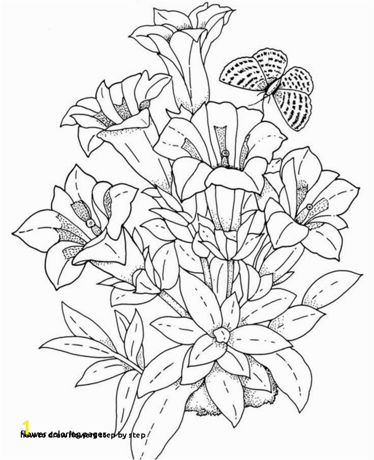 How to Draw Flowers Step by Step Simple Flower Coloring Pages Lovely Best Coloring Page Adult Od Kids