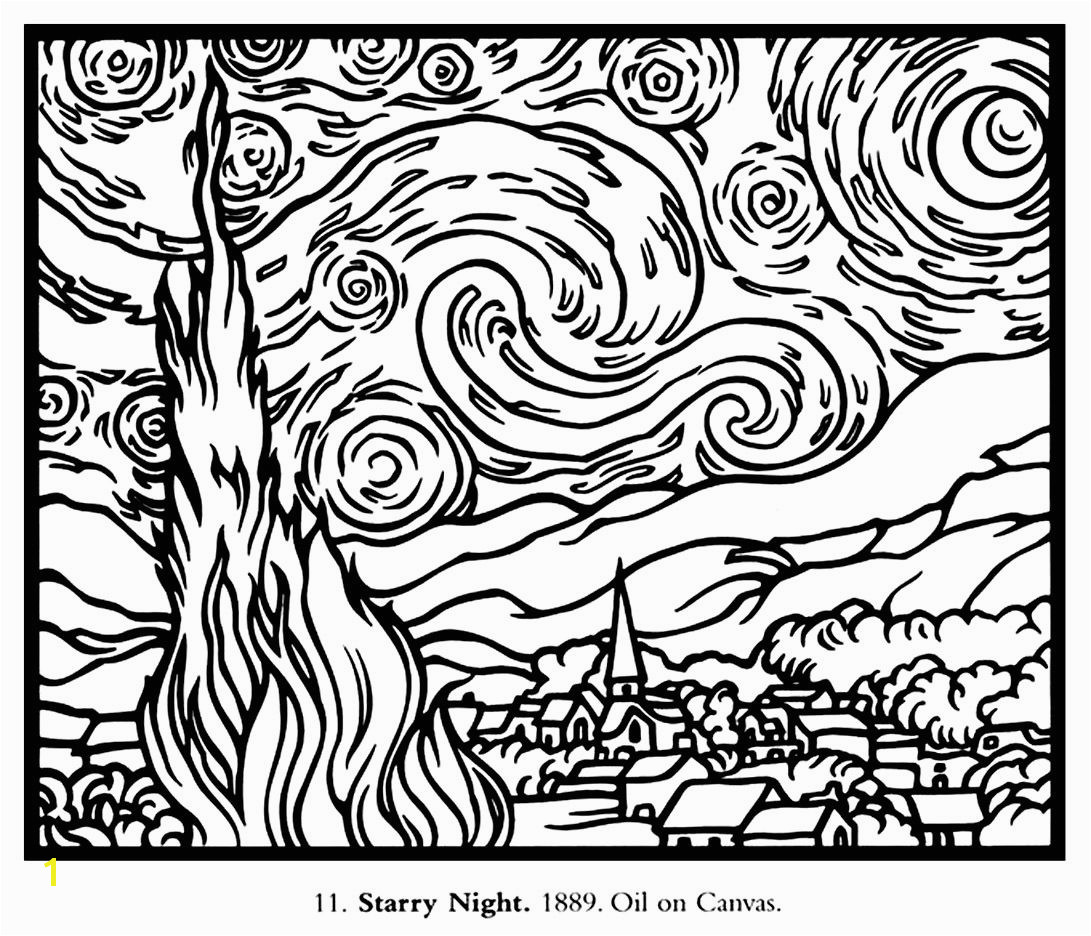 Free coloring page coloring adult van gogh starry night large coloring adult van gogh starry night large