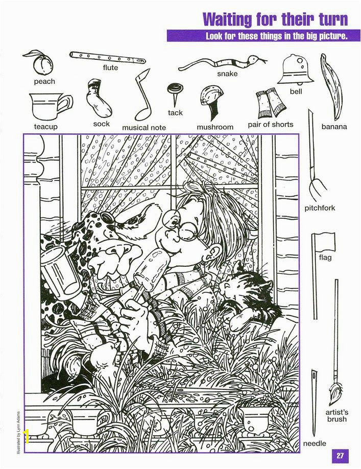 Waiting for Their Turn Hidden Picture Coloring Page