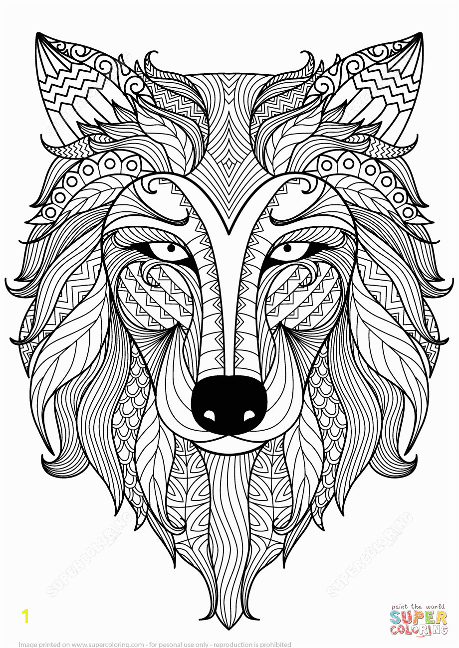 the Wolf Zentangle coloring pages to view printable version or color it online patible with iPad and Android tablets