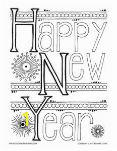 Coloring Page for Adults with cute details to color and the words Happy New Year for