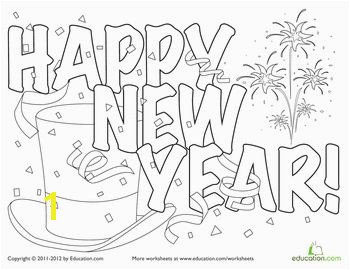Festive New Year Hat Coloring Page new years crafts and ideas Pinterest