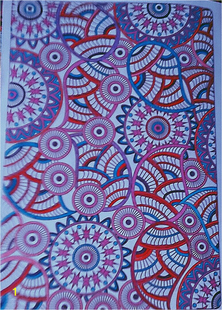 Manda zendoodle zentangle color with gel pens and sharpie markers by Judy Soto