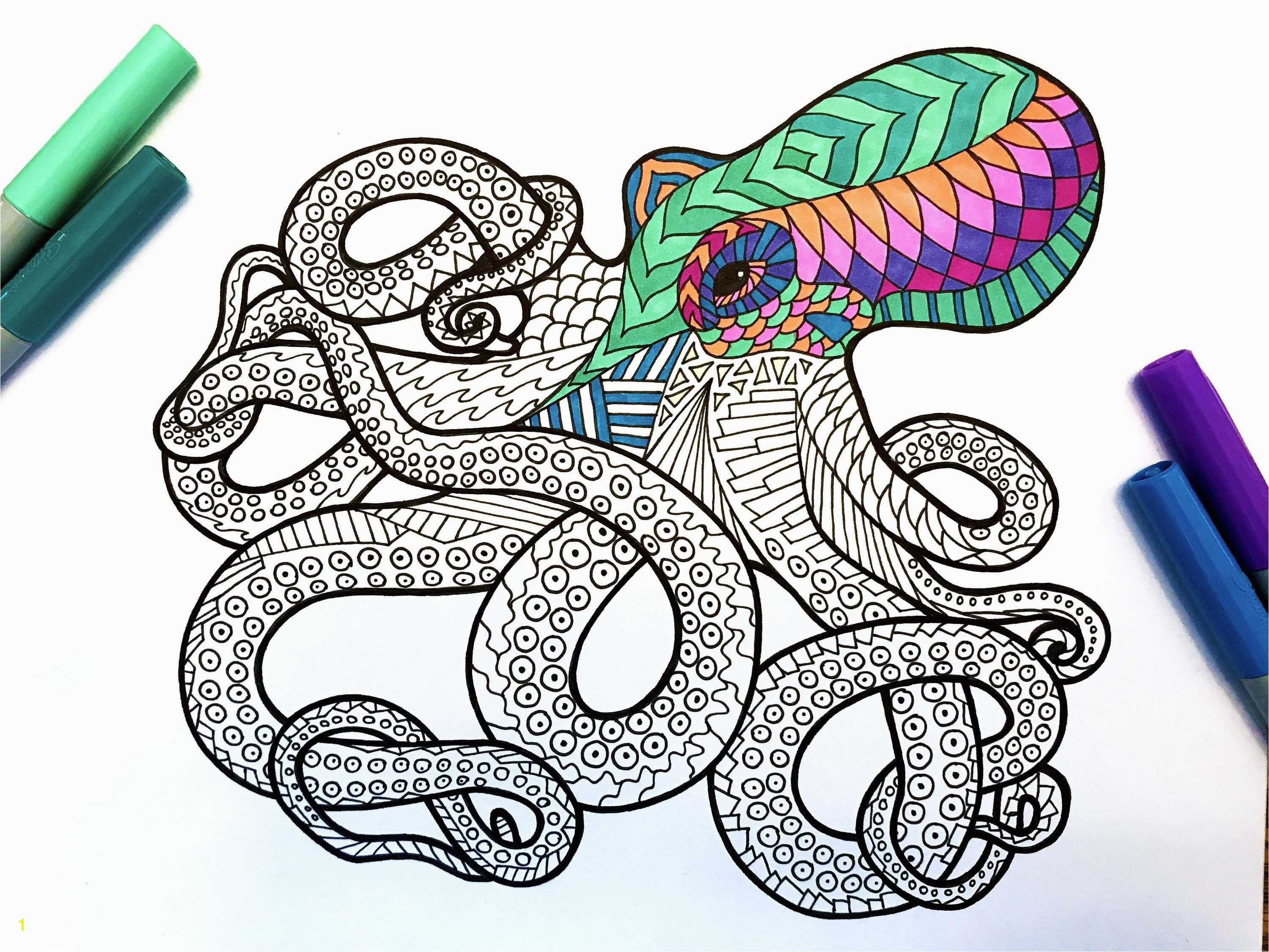 Octopus – PDF Zentangle Coloring Page – Scribble & Stitch