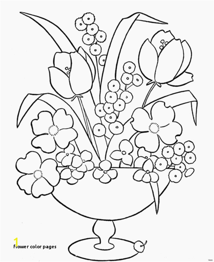 Flower Color Pages New Cool Vases Flower Vase Coloring Page Pages Flowers In A top I