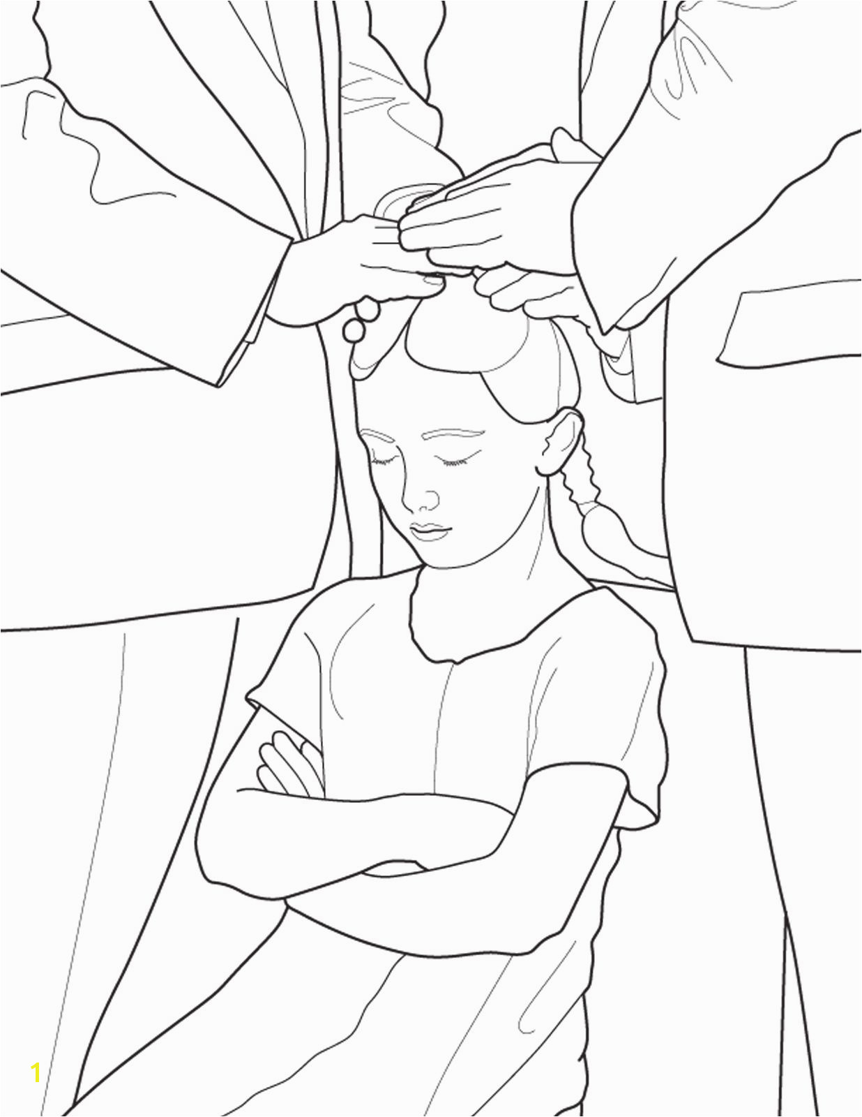 A Primary coloring page from the LDS Church A girl is confirmed following baptism