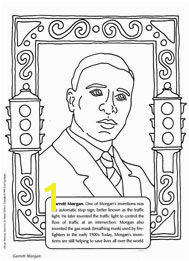 Garrett Morgan coloring sheet inventor of the traffic light and gas mask