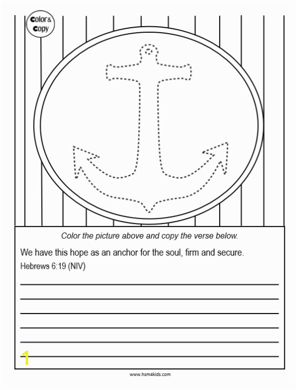 Anchor for the Soul Coloring Sheet and Memory Verse